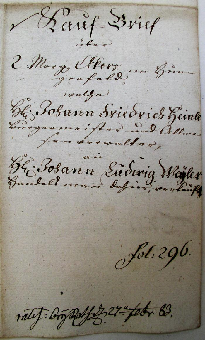 Kauf-Brief 1783