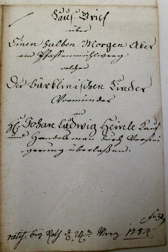 Kauf-Brief 1784