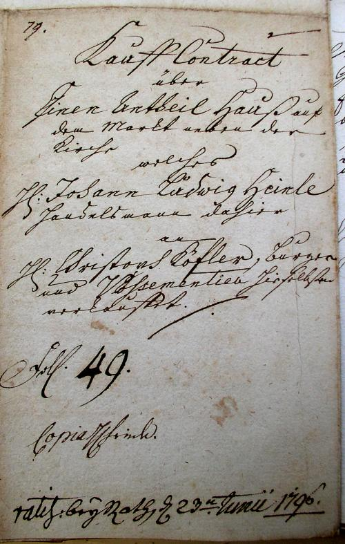 Kauf-Brief 1796
